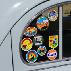 stickers on vehicle